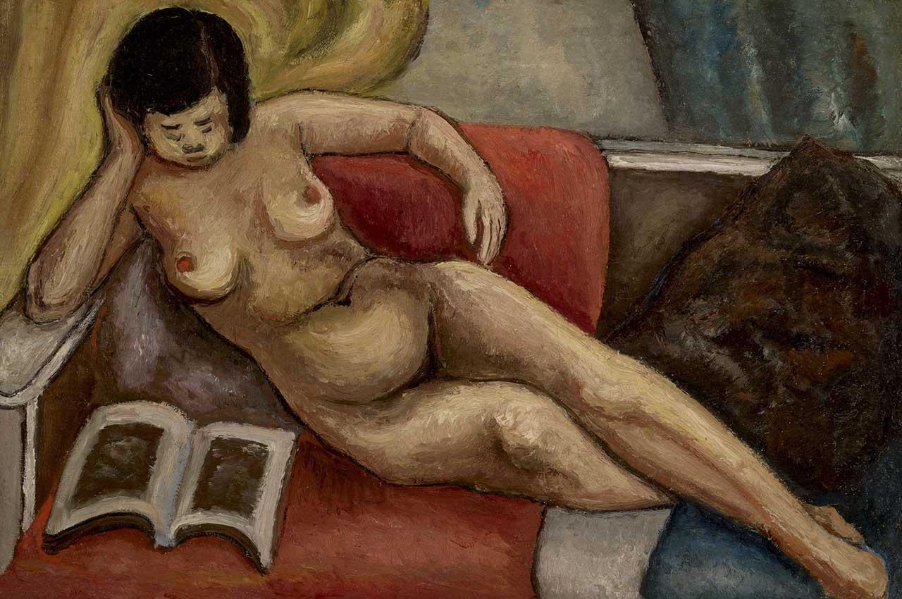 裸女卧床阅读 油彩画布 52x78cm