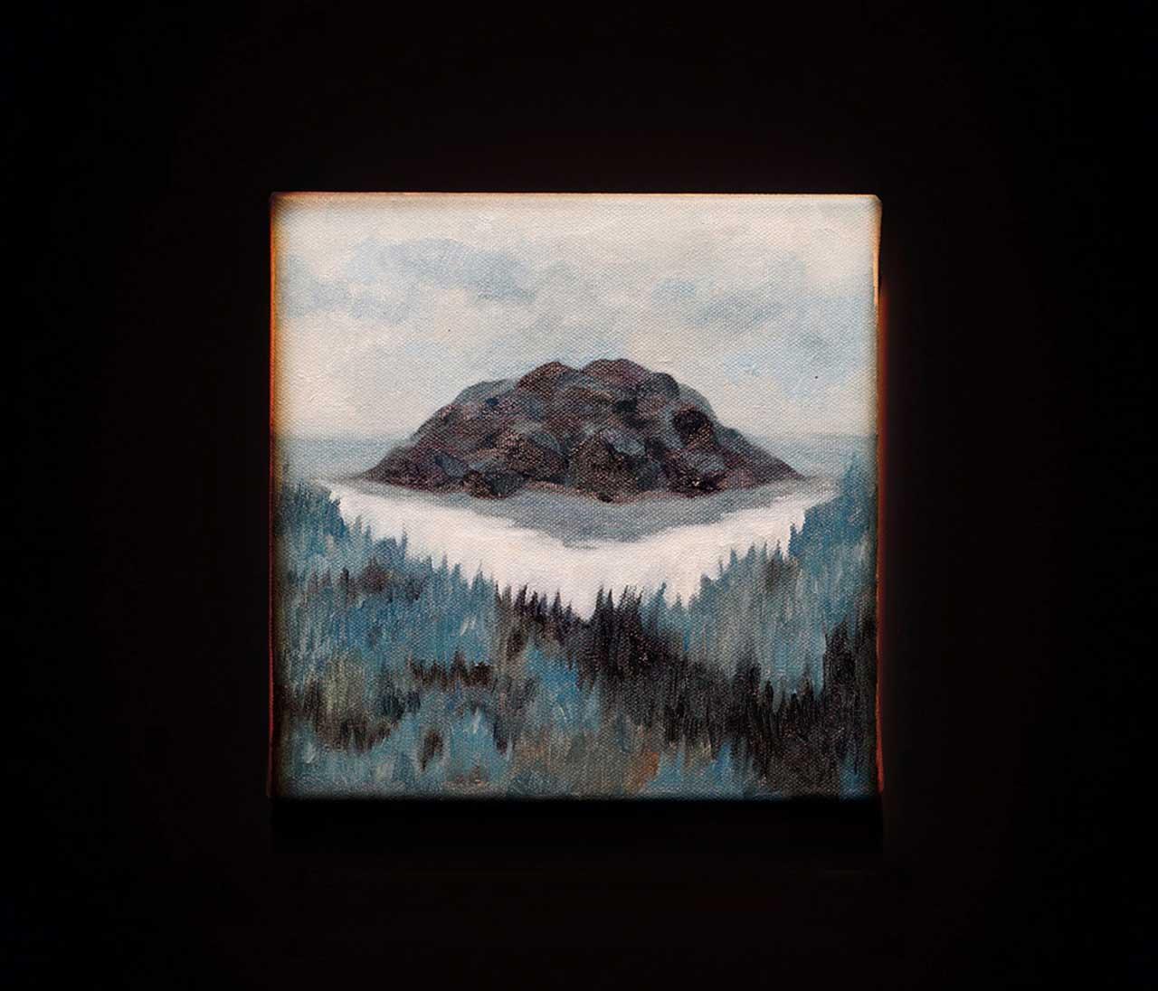 铁甲元帅-岛/湖 油彩、画布 20x20cm