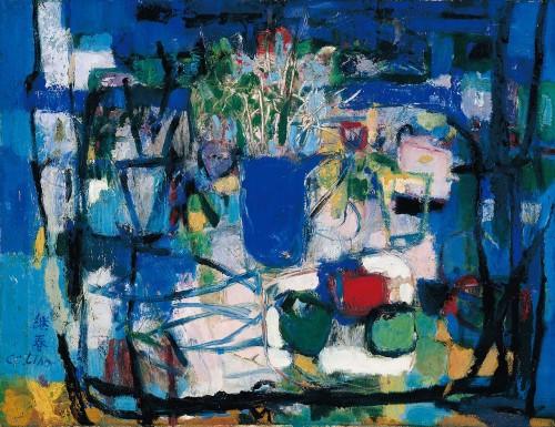 藍色靜物 油彩畫布 25F(60.5x 80cm)