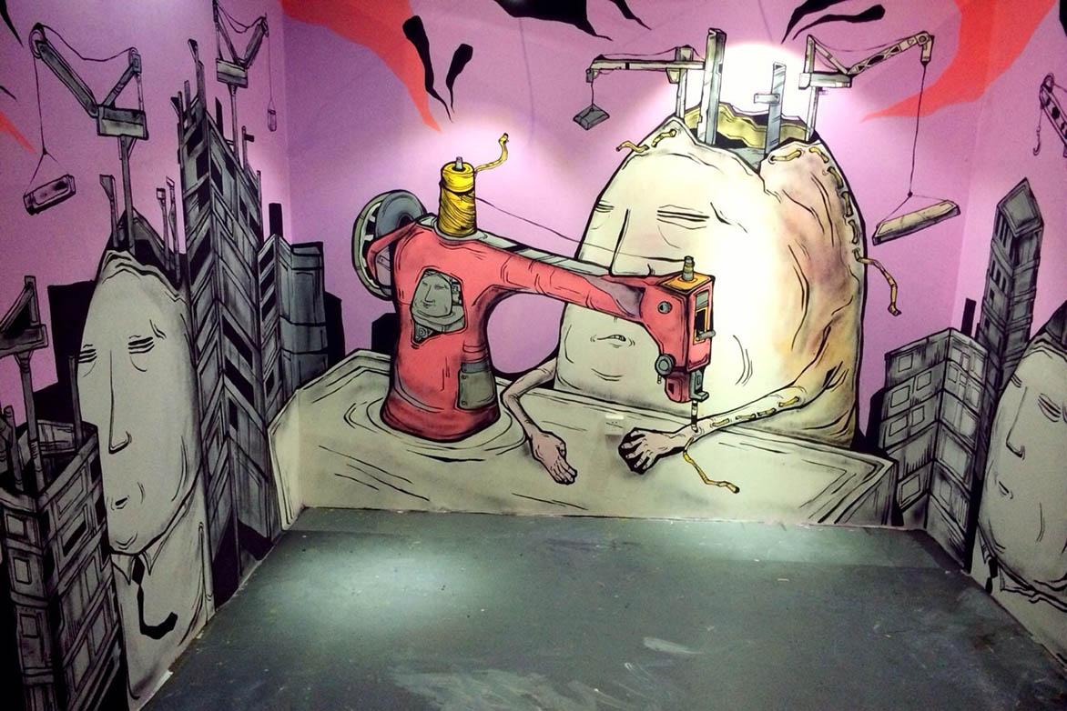 Candy Bird 堆叠快乐 2014 喷漆、水性漆、帆布 245x930cm