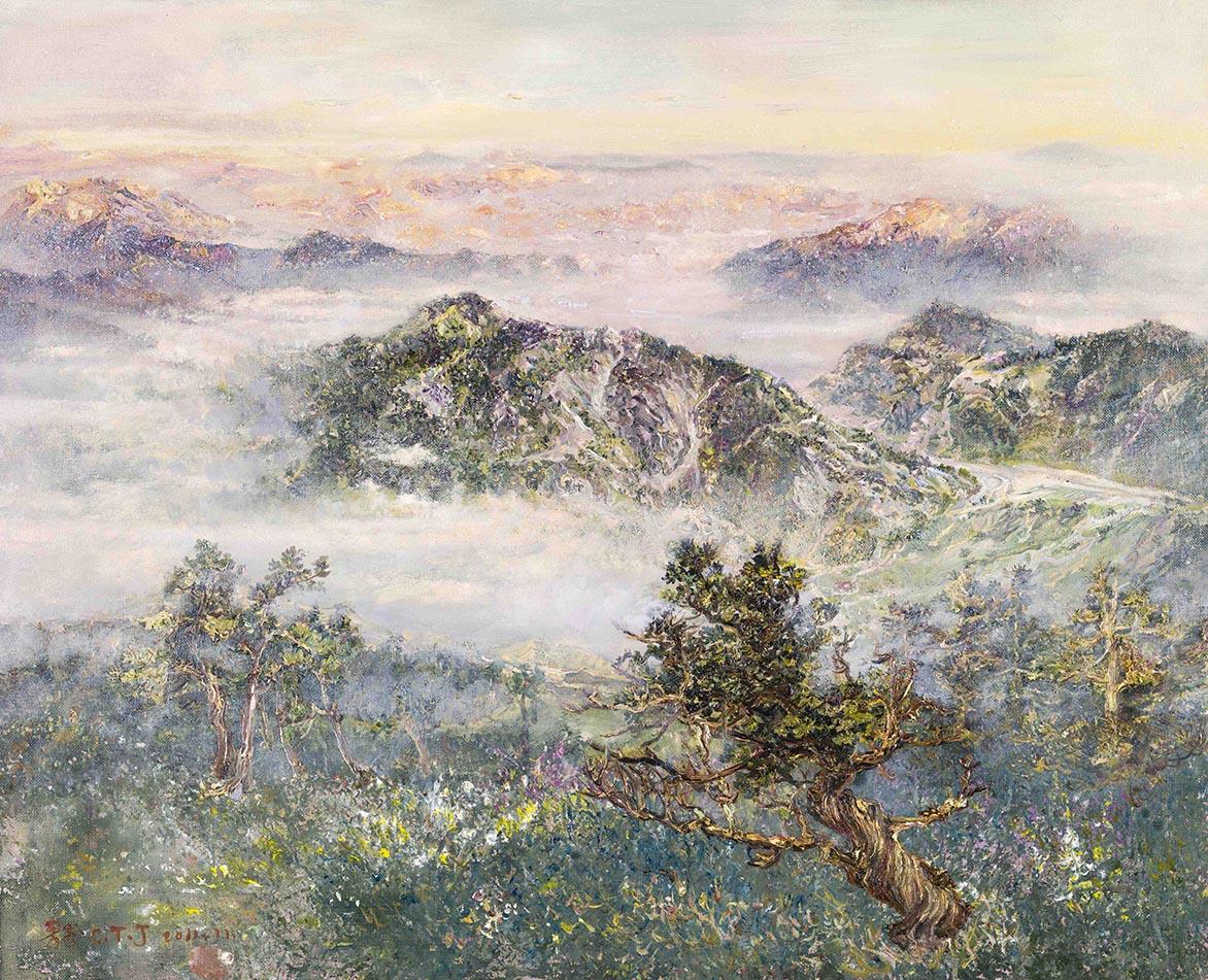 浮烟翠且重(合欢山)2011 压克力、油彩、麻布 53.3x65.7cm