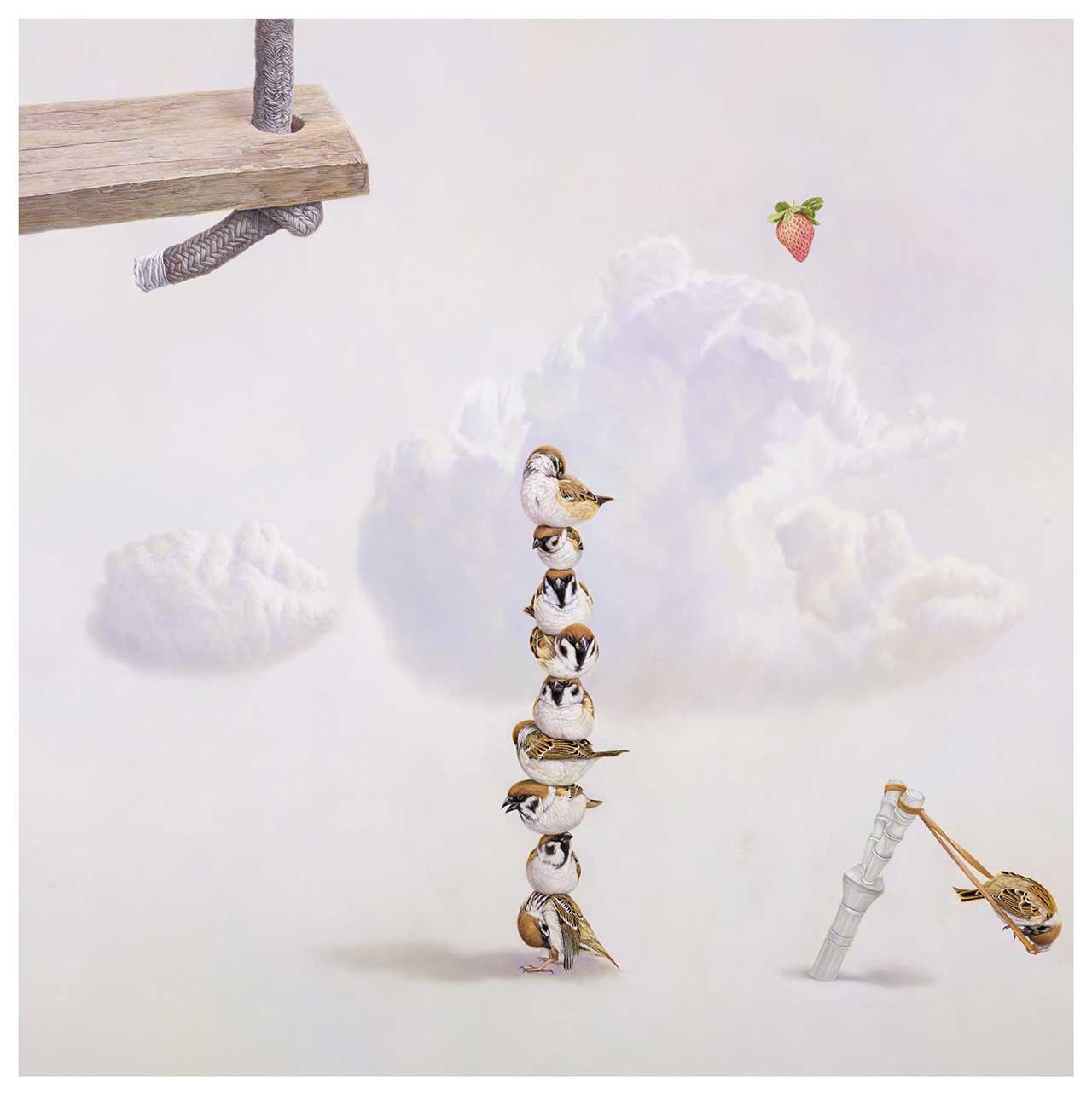 黄颐胜 堆砌的梦想 油彩画布 100x100cm