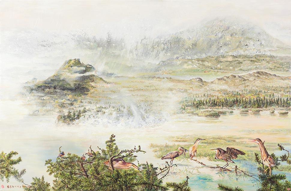 草山韭芒复秋色 复合媒材、麻布 145.5×220.2cm (160号)