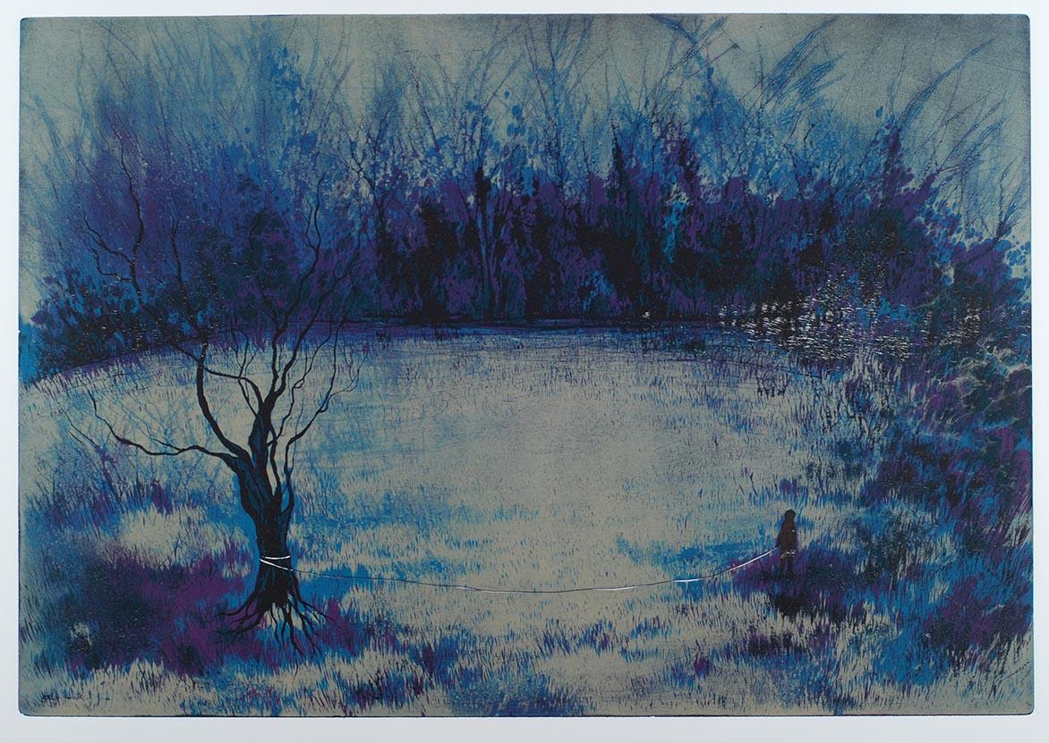 游雅兰 牵着树散步 木刻版画 41x59cm