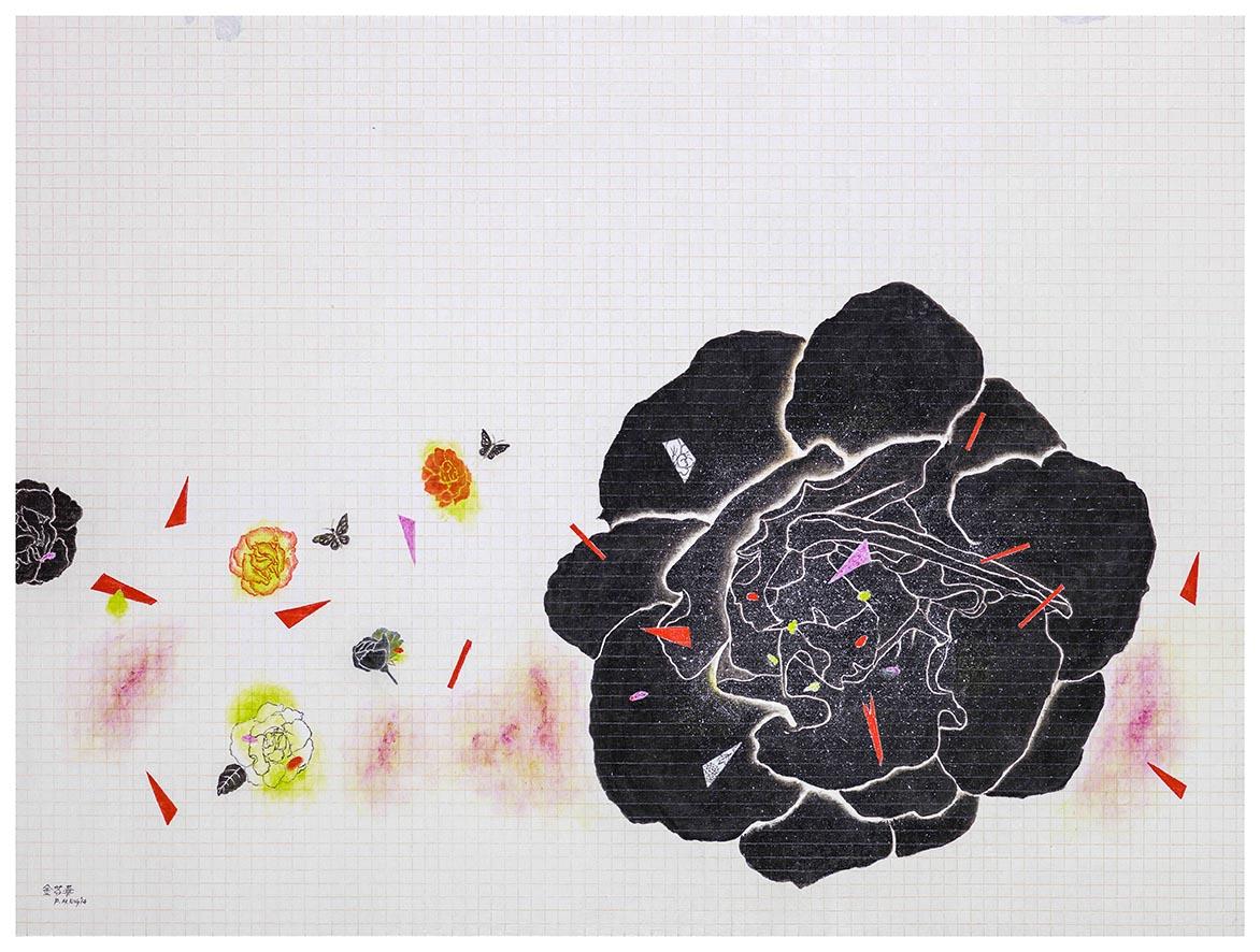 嬉春 油彩画布 97x130cm