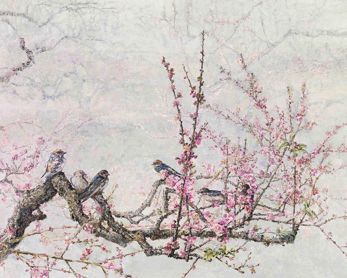 红蜡枝头双燕小 压克力、油彩、麻布 80.5x100.2cm