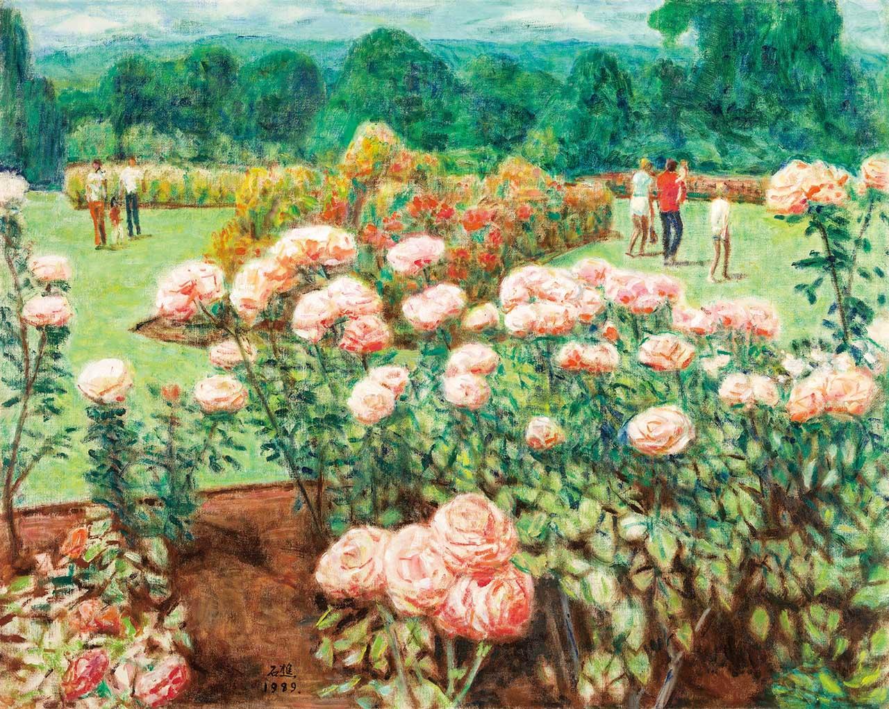 玫瑰花园 油彩画布 30F