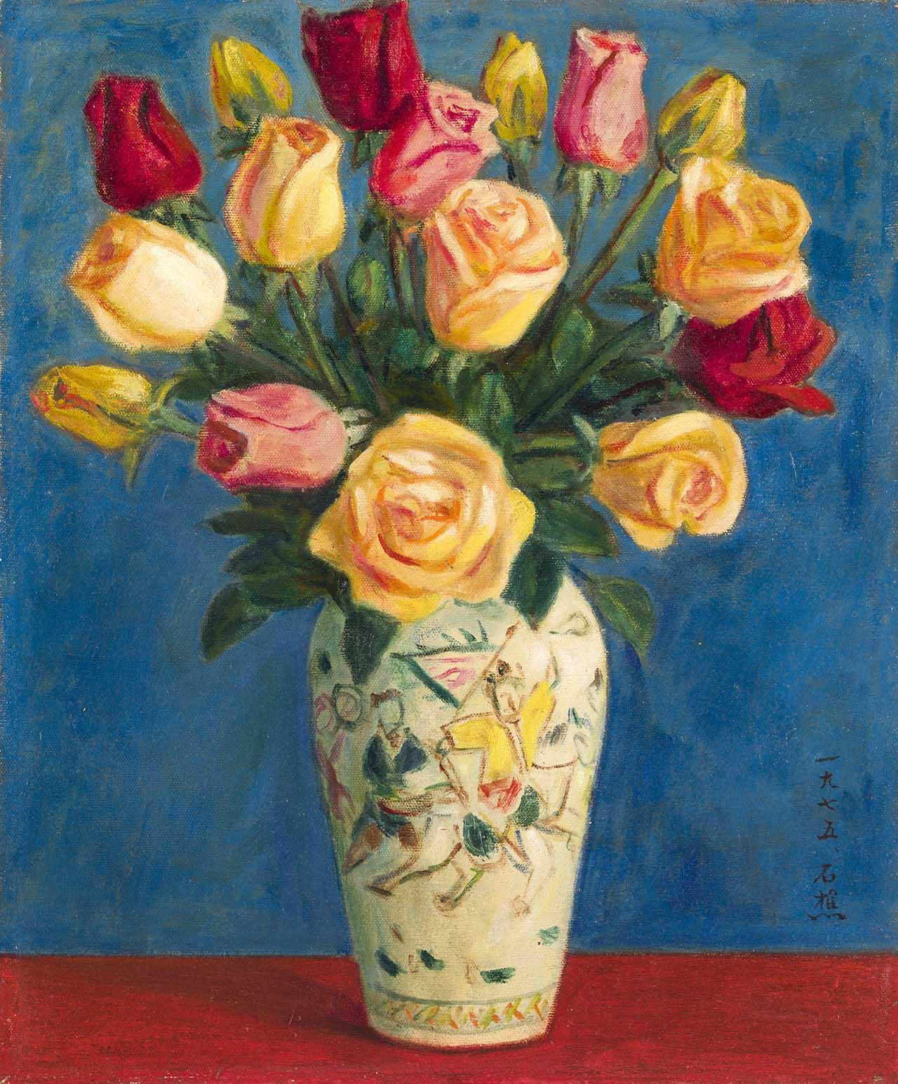玫瑰瓶花 油彩画布 8F