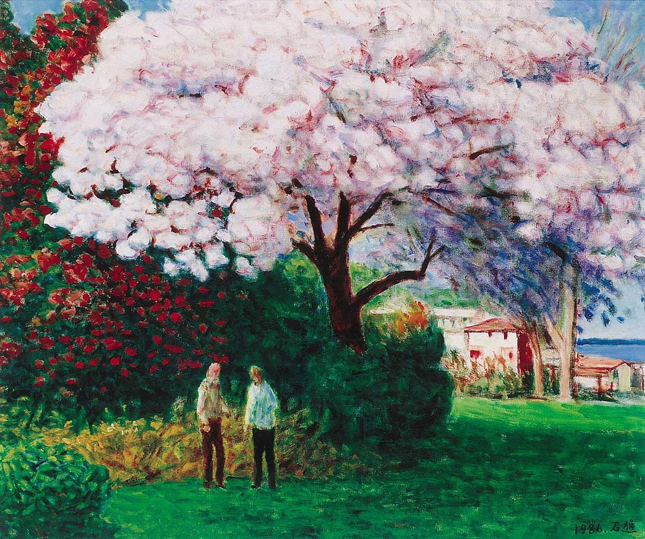 湖边的樱花 油彩画布 20F