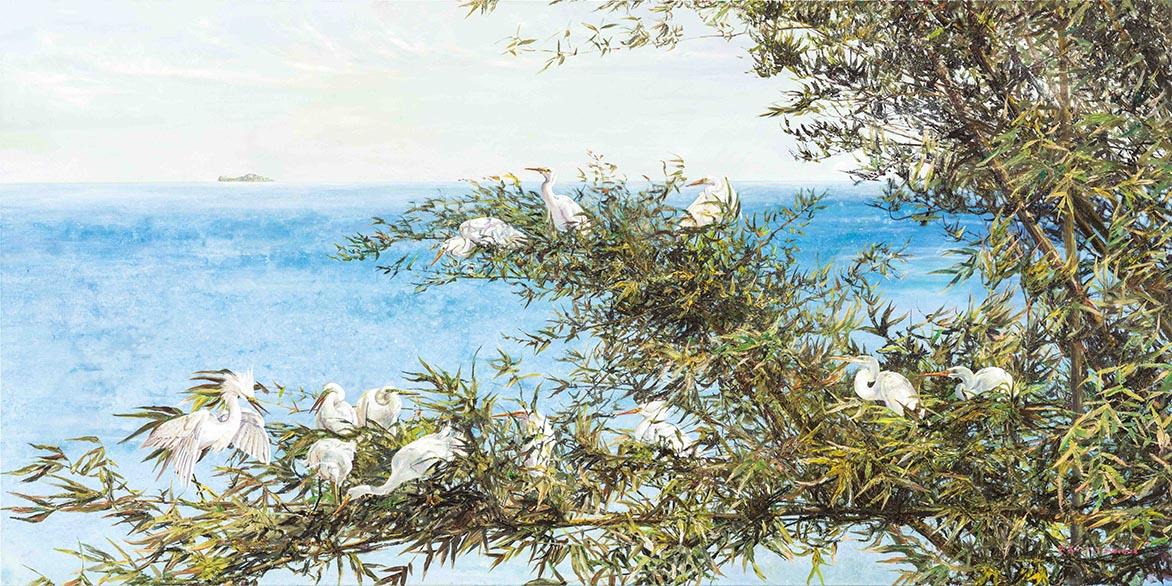 沧海对青苍翠色2013复合媒材、麻布 97.5×194.3cm (95号)