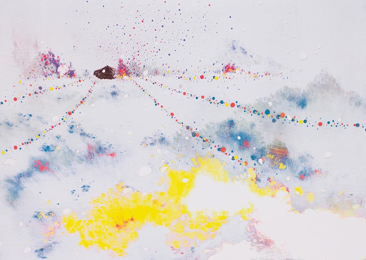 游雅兰 在云上 油印木刻 42x60cm