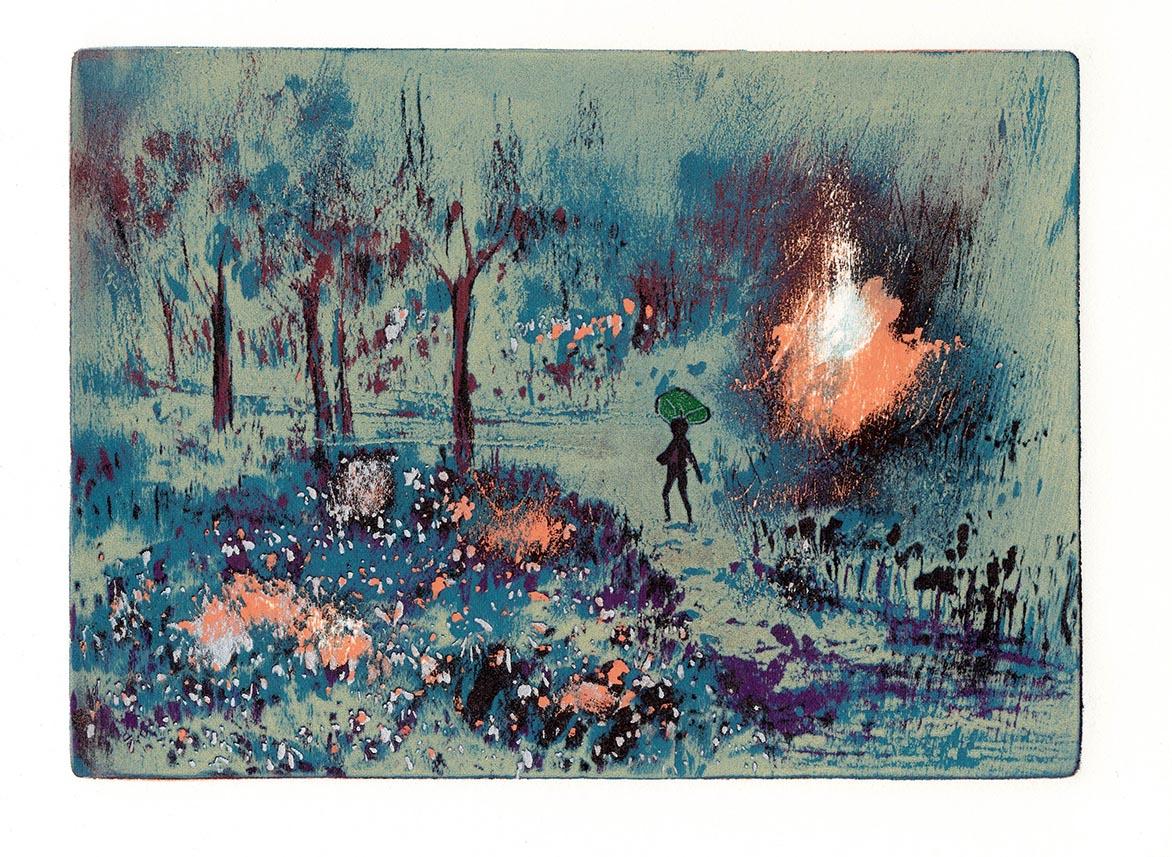 游雅兰 在雾中 油印木刻 16.5x22cm