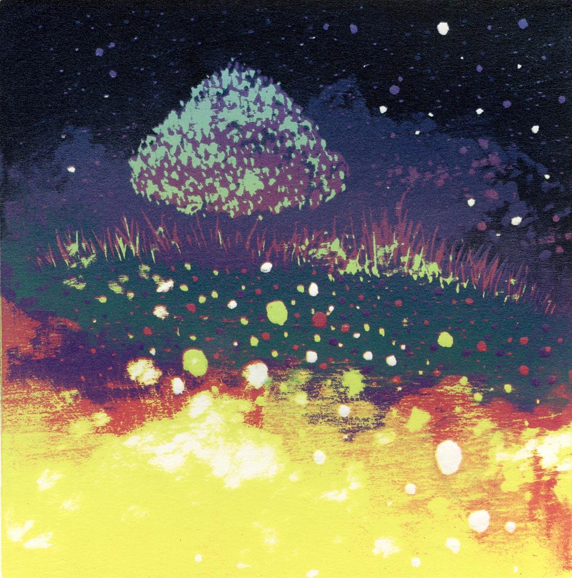 游雅兰 天上的树 油印木刻 15x15cm