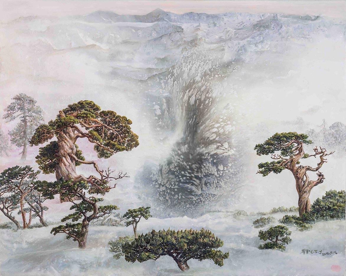 阳坡风暖雪初融 2014复合媒材、麻布 80.5×100.5cm (40F)