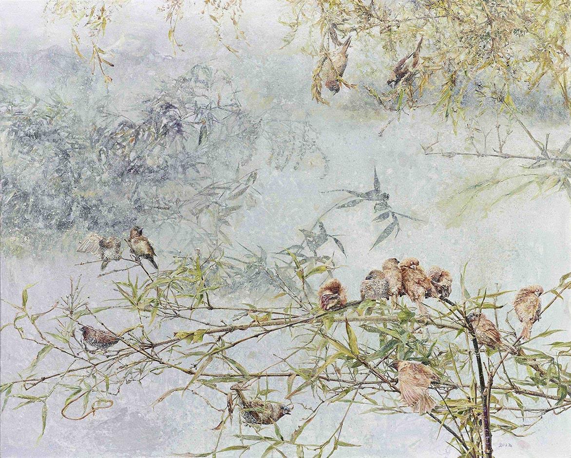 张翠容_高节禅枝宿众鸟2012 压克力、油彩、麻布 40F
