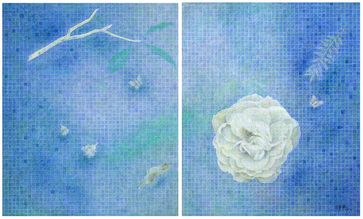 蓝 油彩画布 72.5x60.5cm x2