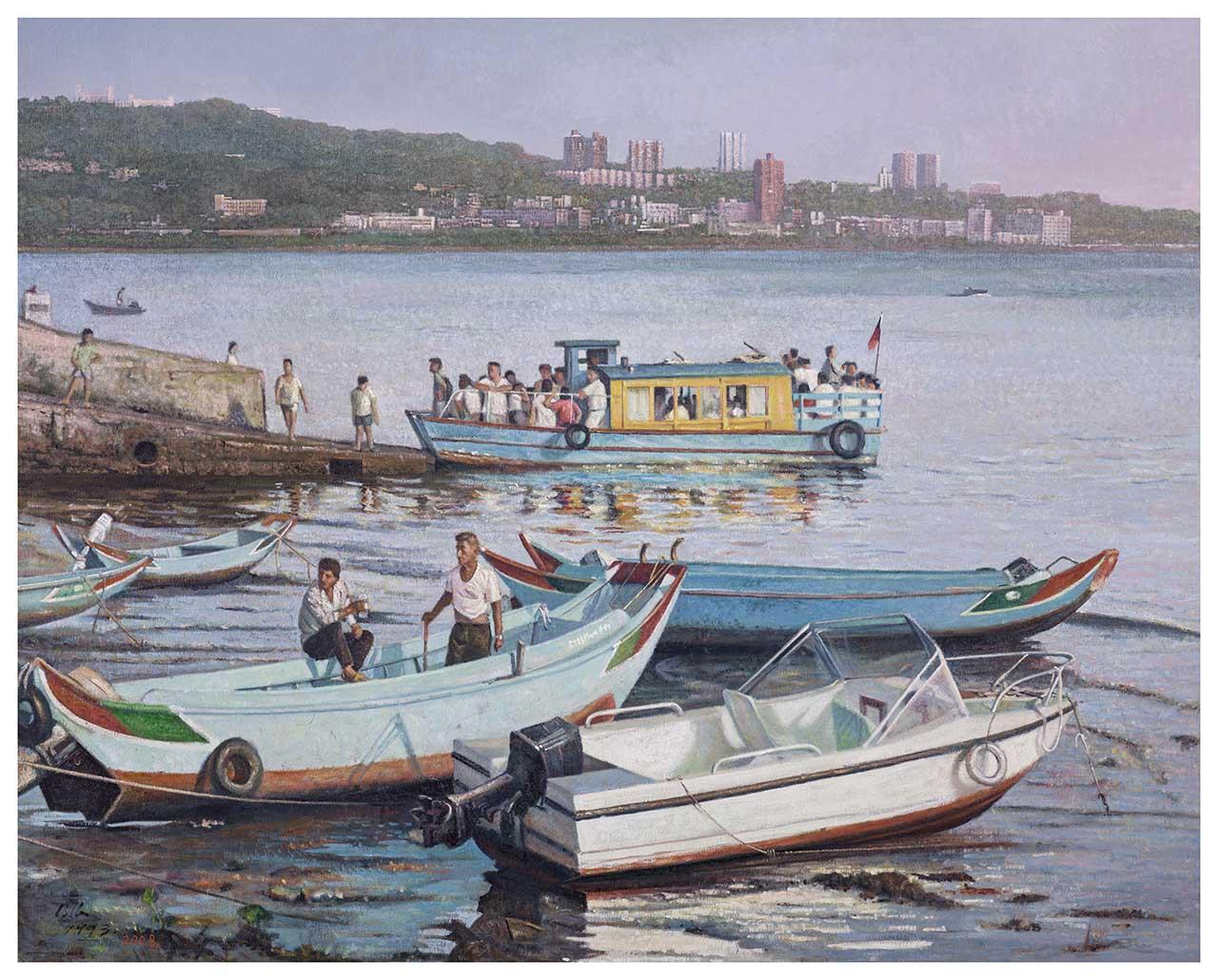 刘得浪 淡水渡轮 油彩画布 30F