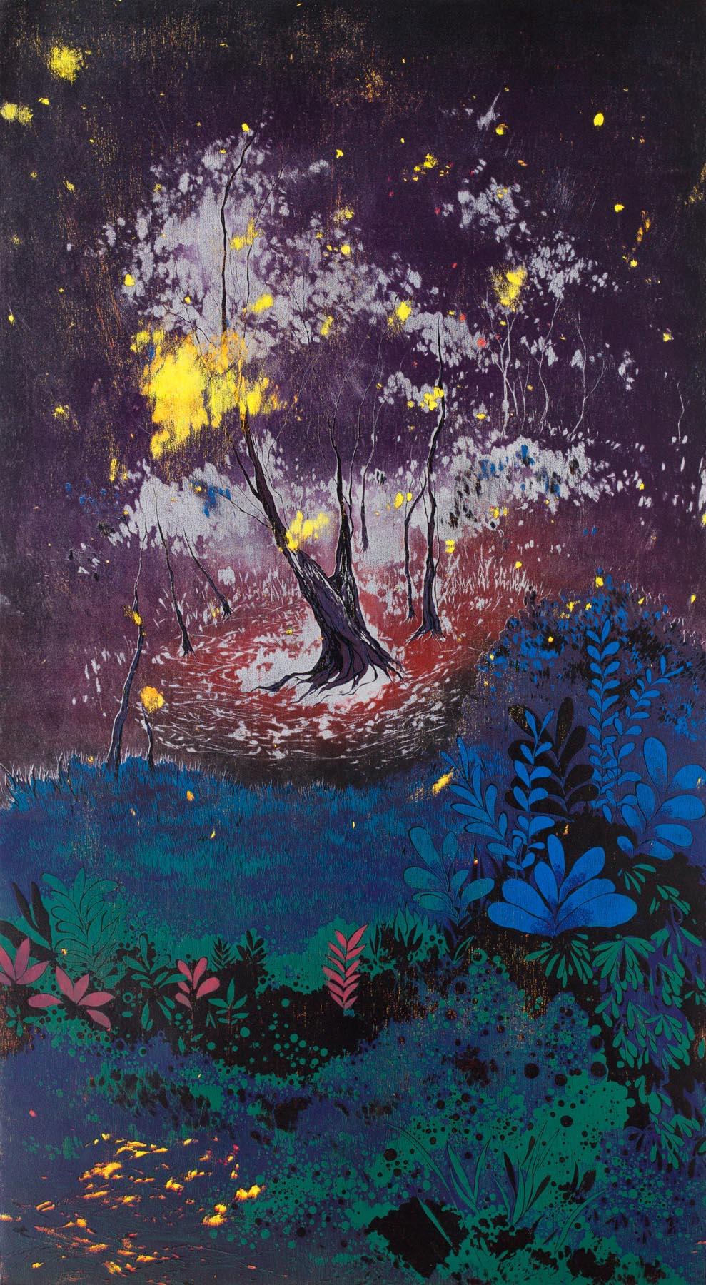 游雅兰 在幽谷之 油印木刻 142x80cm