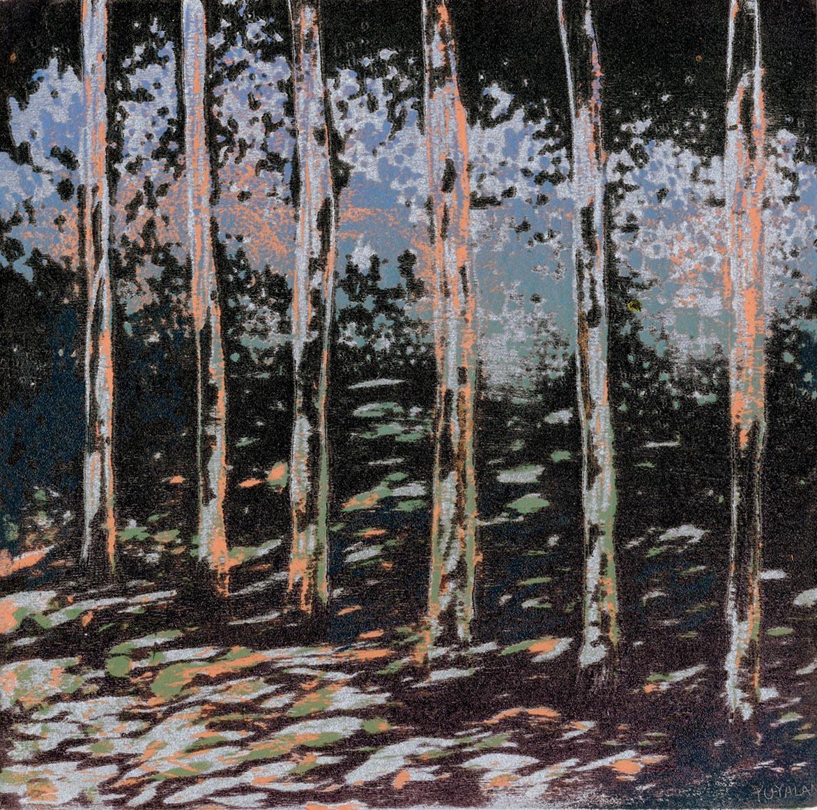 游雅兰 夜之森 油印木刻 15x15cm