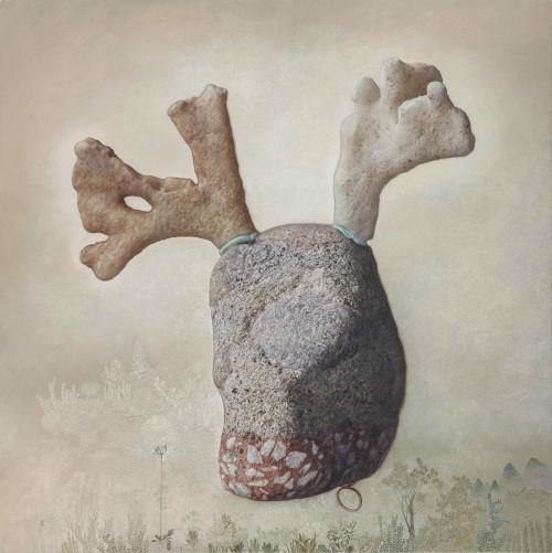 傅浩轩   曾经的野林原生之花 2015 油彩丶画布  122×122cm