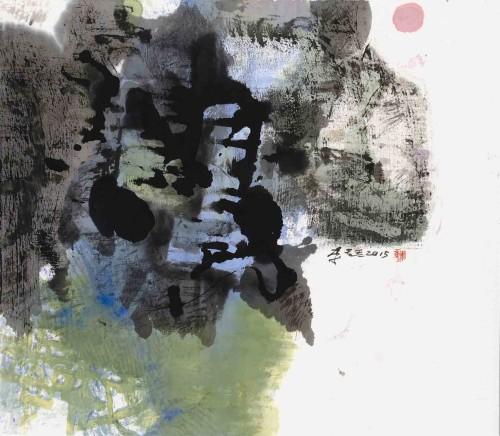 李重重  起风的日子 2015 水墨设色丶纸本 47×53cm