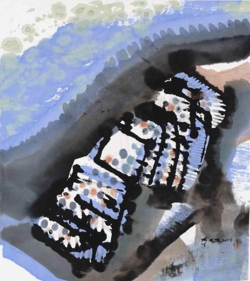 李重重  回望 2015 水墨设色丶纸本 53.5×47.5cm