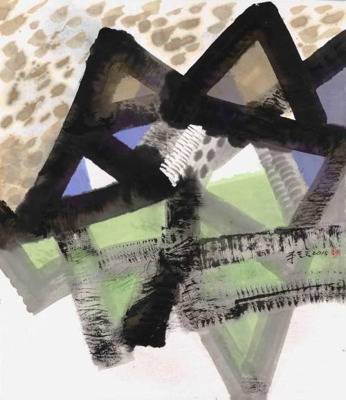 李重重  天空 2015 水墨设色丶纸本  54.5×47.5cm