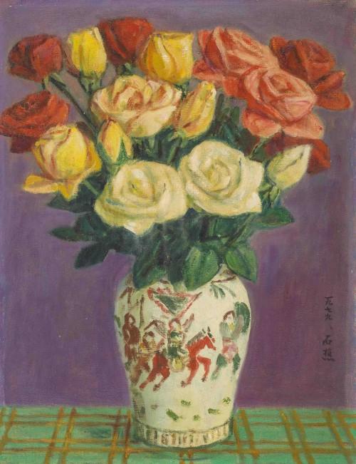 李石樵  玫瑰花 1979 油彩画布  40.7×31.8cm (6F)