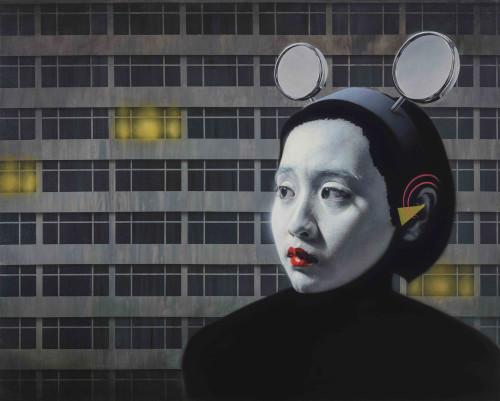 林宏信  城里的月光 2015 油彩丶画布 130.5×162.5 cm
