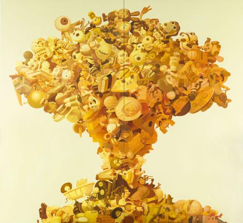 王建扬 让我们漂浮在蘑菇云的顶端吧 2012 压克力丶画布 300x330cm