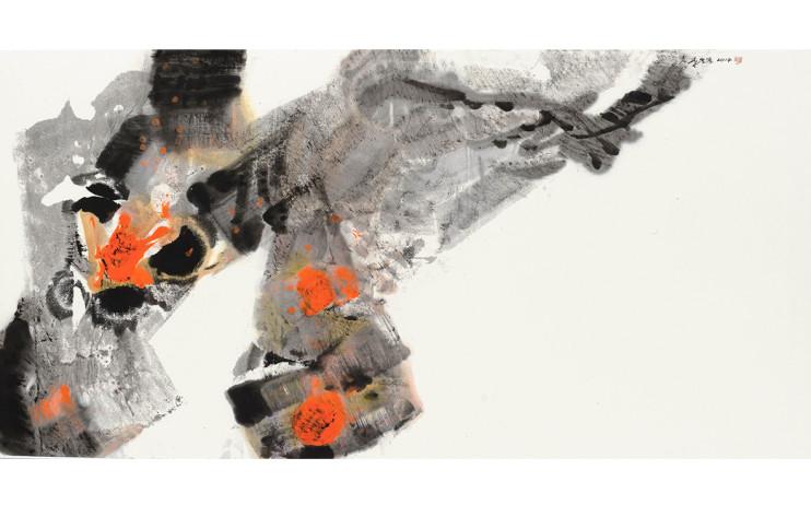 李重重  怒放的生命  2014  水墨设色丶纸本  68.5x139cm