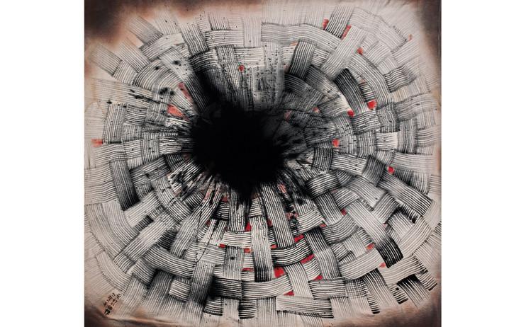楚戈  原初的结构  1997  压克力丶水墨丶麻布  146x151cm