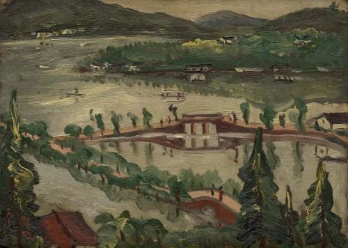 陈澄波  湖与舟  1930 木板油彩  24×33cm (4F)
