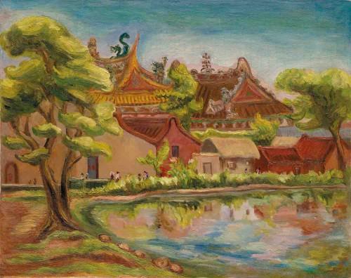 陈澄波 水边(彰化南瑶宫) 1939 油彩画布  72.5x91cm (30F)