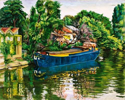 陈慧坤 塞纳河畔之努依礼(一) 1975 油彩画布 83×100cm 100×120cm(含框)