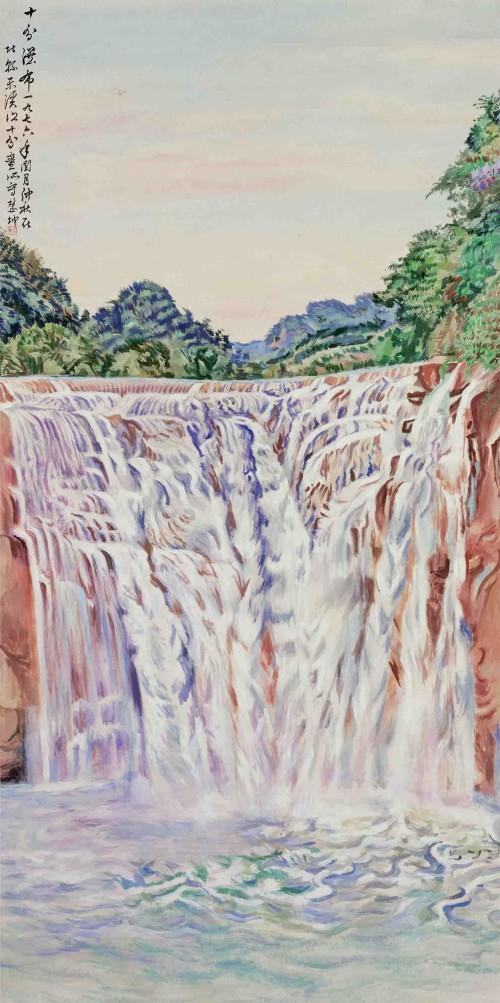 陈慧坤 十分瀑布(二) 1976 胶彩 183.5×91.2cm
