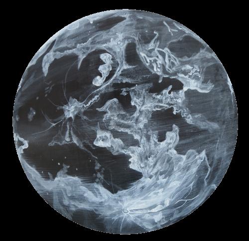 陈依纯 在月球上等待 2018 压克力丶画布 直径50cm
