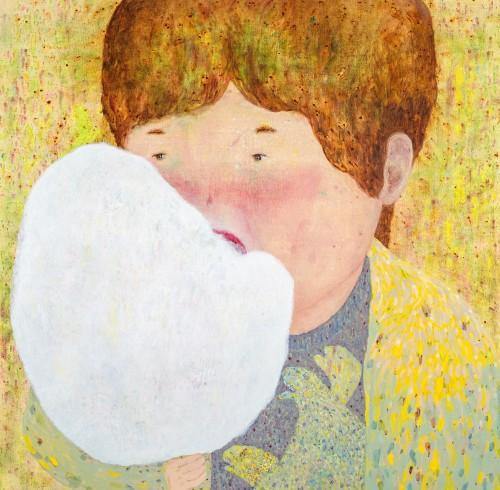 罗乔绫 吃棉花糖 2017 压克力丶麻布 140x143cm