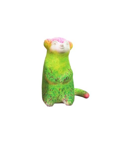 蔡洁莘  彩虹雨村落的狐獴 II 2015 纸浆丶压克力颜料  51×35×25cm