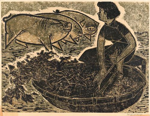 杨英风  嬉  1959  蔗板版画  63x48cm