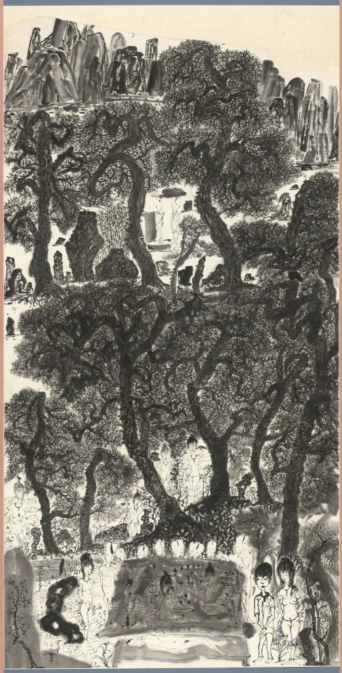 003.矯龍掩映處-如仙童, 水墨、紙本, 136.2x69.3cm(10.5才), 2004