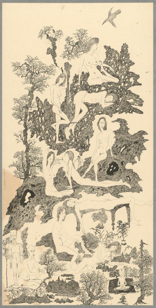 007_ 慾望山水:枯木逢春 ll, 水墨、紙本 136.2x68.1cm(10.3才), 2000