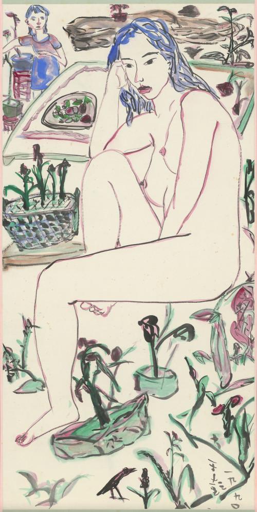 009_春意滿園, 彩墨、紙本, 136.2x67.8cm(10.3才), 1990