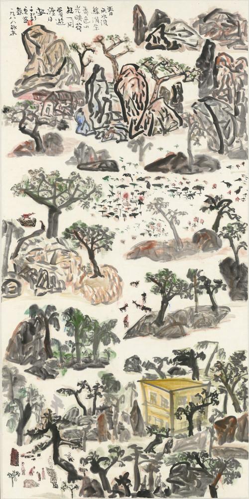 016.春天水波綠漪生  彩墨、紙本 137.2x68.4cm(10.4才), 1988