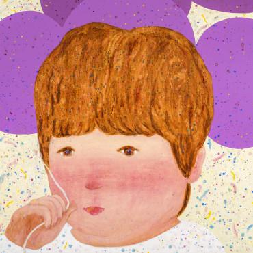 023.羅喬綾_紫色氣球_2017_壓克力、麻布_140×143cm_小