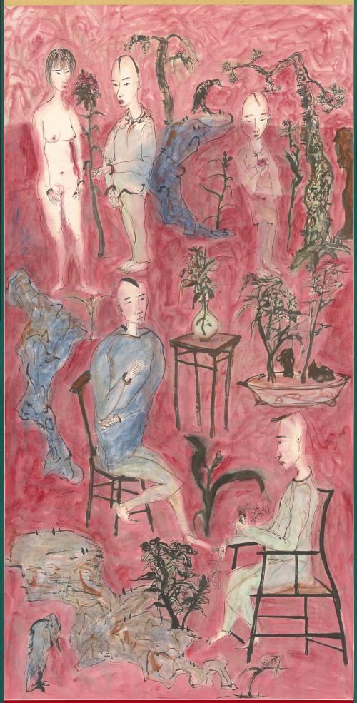 024 幸福家庭, 彩墨、紙本, 135.9x68.3cm(10.3才), 1997