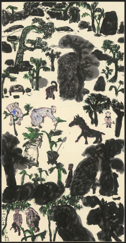 041_人物・樹石・怪獸,134.6x68.9cm(10.3才), 1988
