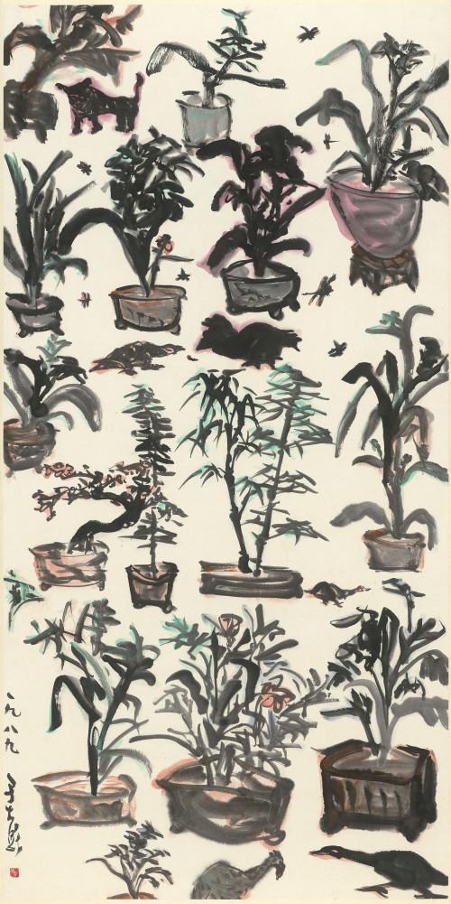053_盆栽滿園_彩墨、紙本, 135.2x67.4cm(10.1才), 1989