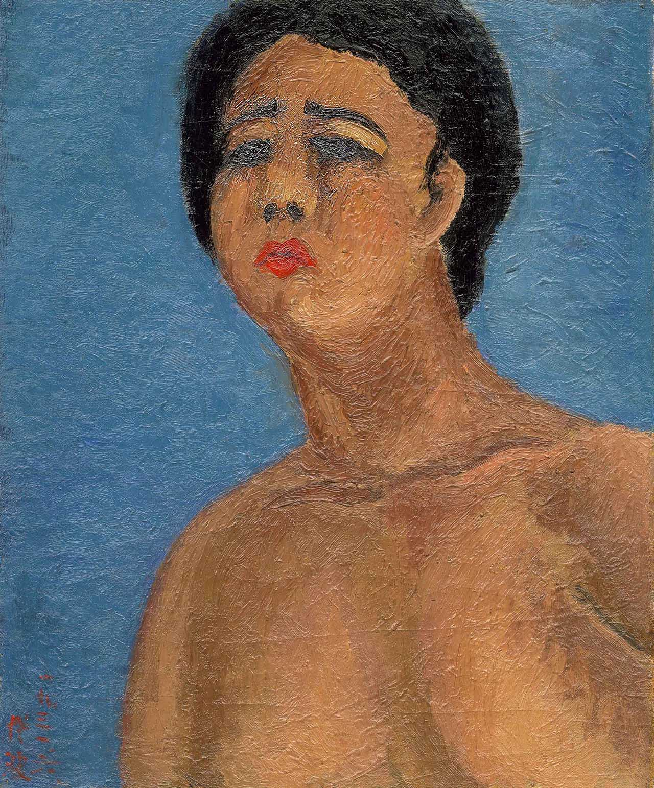 A Pouting Nude Oil on canvas 45.5x37.8cm(8F)