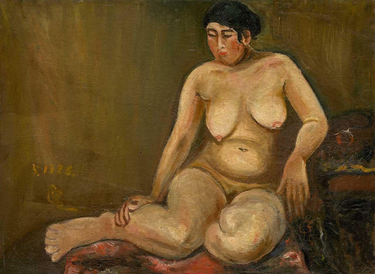 Nude Female in a Right Leaning Sitting Posture Oil on canvas 53x72cm 20P